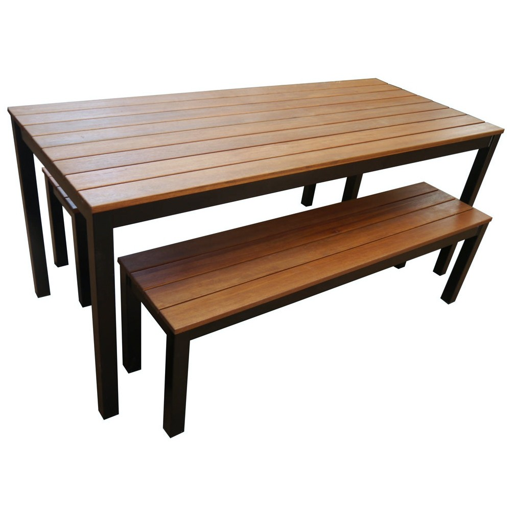 Table With Bench Seats: Beer Garden Outdoor Table And Bench Seat Set