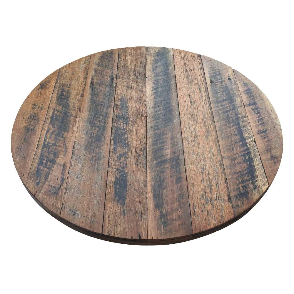 Wooden Table Top View ~ Rustic recycled round wood table top timber tops