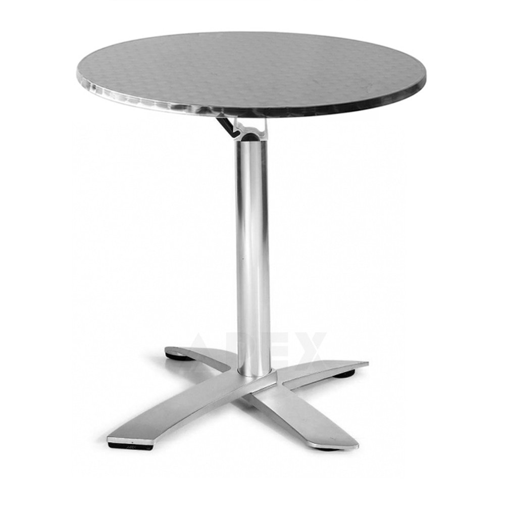 - Rylie Round Folding Table Outdoor Stainless Steel Stackable Apex