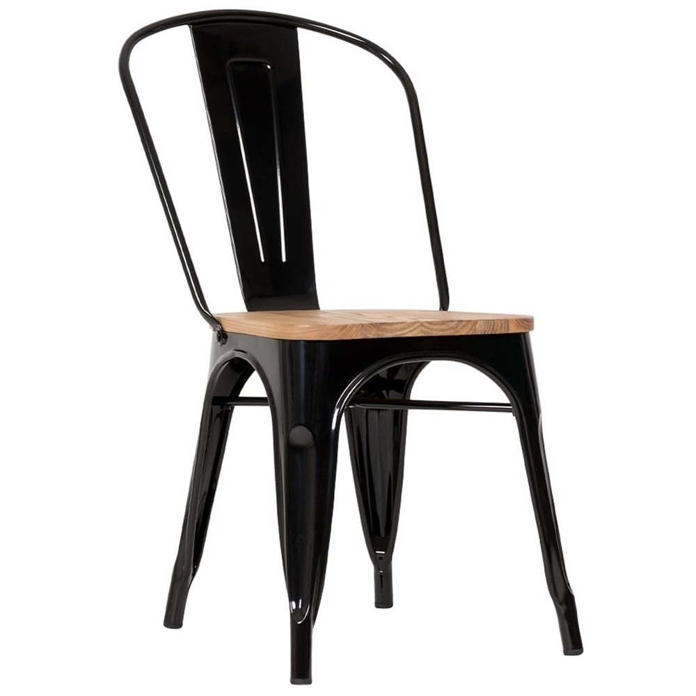 Tolix Industrial Chairs With Wooden Seat Apex