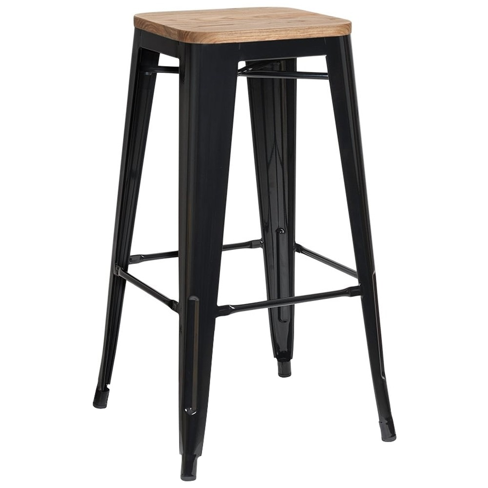 Tolix Bar Stools With Wooden Seats