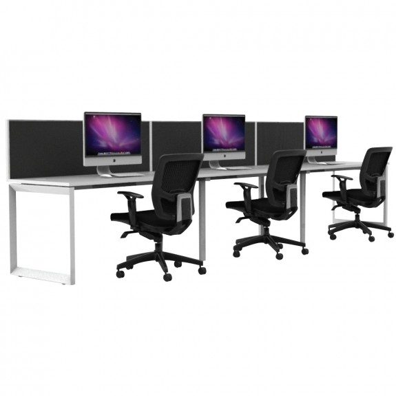 Agility 3 Person Single Sided Office Workstation Loop Legs with Privacy Screens