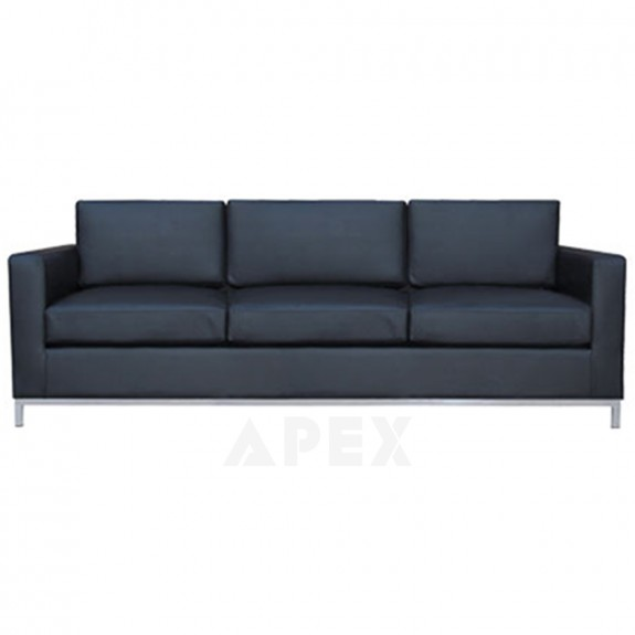 Aimee Modern Black Leather Sofa Lounge 3 Seater