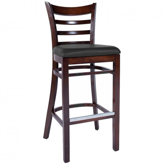 Abby Upholstered Wooden Bar Stool with Back-Natural