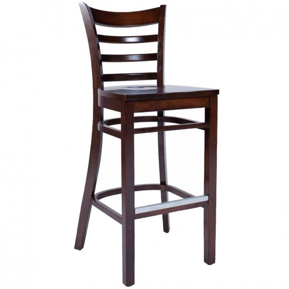 Abby Timeless Wooden Bar Stool with Back-Natural