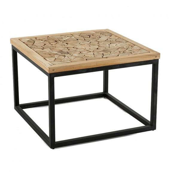 Dark Teak Coffee Table: Angelika Coffee Table In Recycled Teak Wood With Black