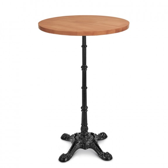 Celestine Vintage Industrial Round Bar Table Black Cast Iron Base