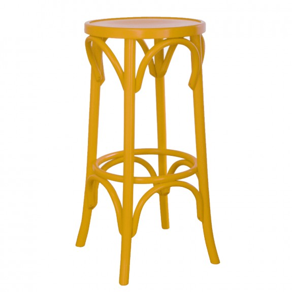 Colour Bentwood Bar Stool by Michael Thonet Red