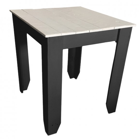 Custom Painted Recycled Wood Cafe Table with White Top