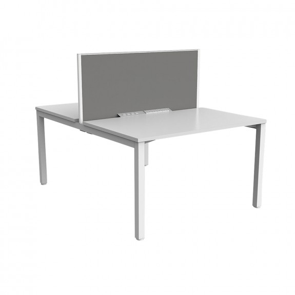 Enterprise 2 Person Double Sided Office Workstation White Frame with Privacy Screen
