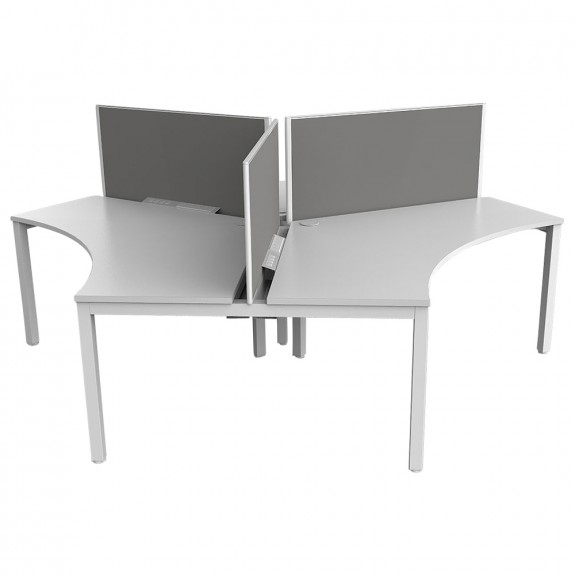 Enterprise 3 Person 120 Degree Office Workstation White Frame with Privacy Screen