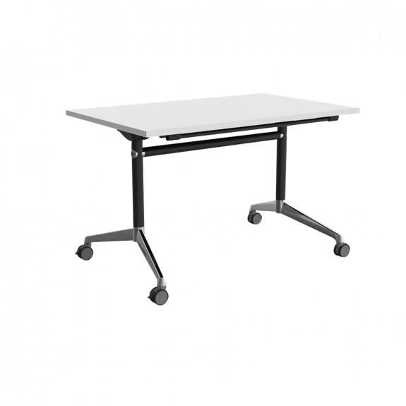 Folding Flip Top Mobile Training Room Table Black Legs