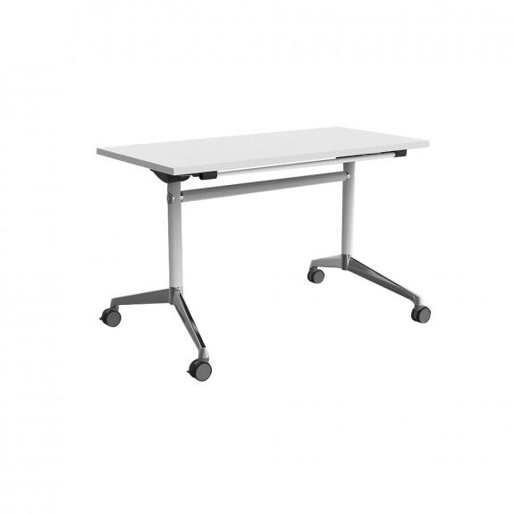 Moda Folding Flip Top Mobile Training Room Table White Legs