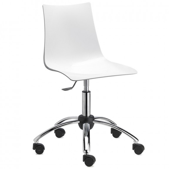 Letta White Swivel Chair with 5 Way Castors