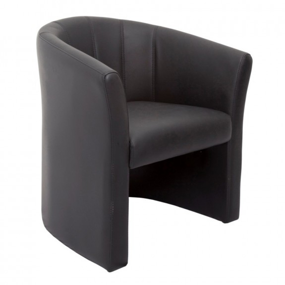 Modern Black Tub Chair Commercial Faux Leather