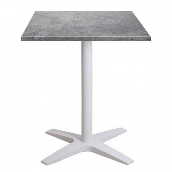 Franziska Square Outdoor Table with White Cast Iron Base