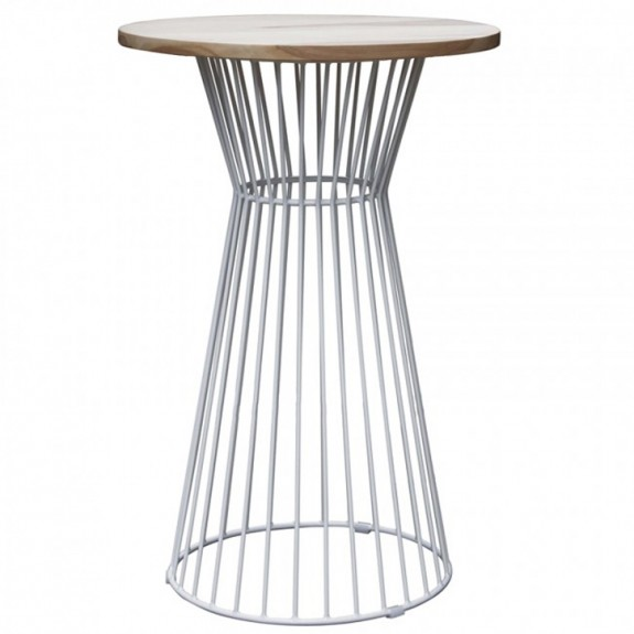 Oak Bar Table with Studio Wire Base - White