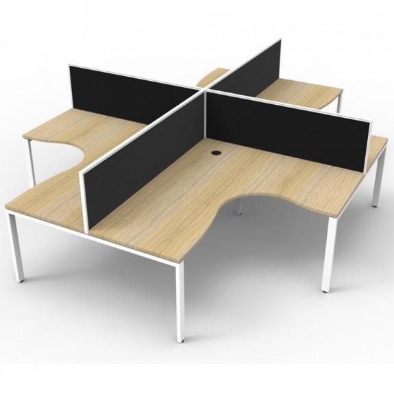 Oak 4 Person Corner Workstation with Screens White Legs