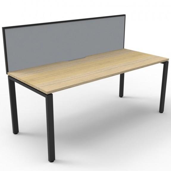 Oak Office Desk Workstation with Screen Black Legs