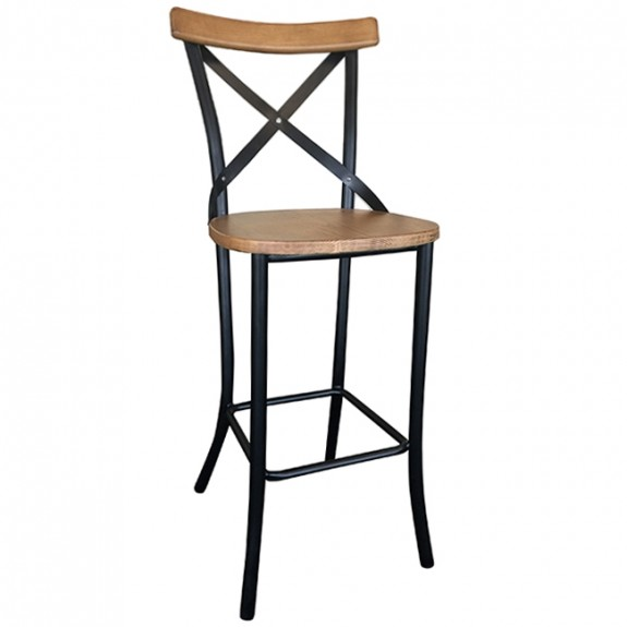 Rustic Bella Cross Back Bar Stool Timber and Metal