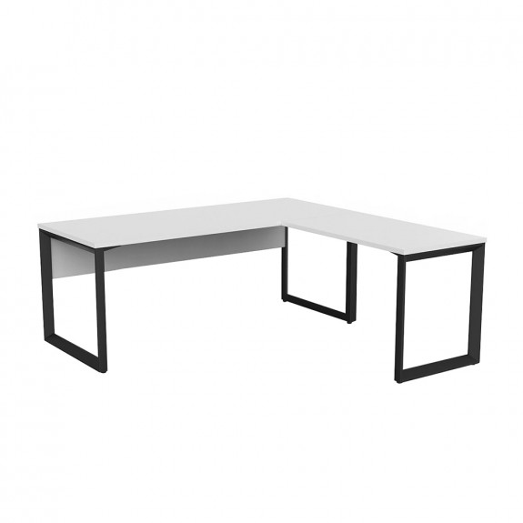 Space Office Desk Black Frame with Return and Modesty Panel