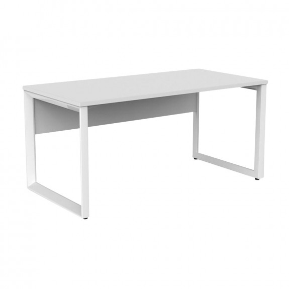 Space Office Desk White Frame with Modesty Panel
