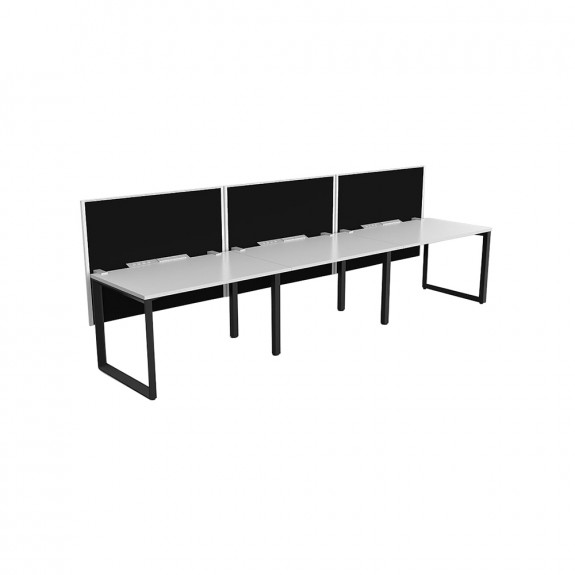 Space Single Sided 3 Person Office Workstation Black Frame with Acoustic Screens