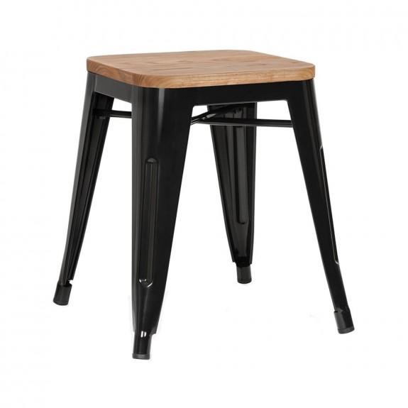 Tolix Low Stool Ash Wood Seat