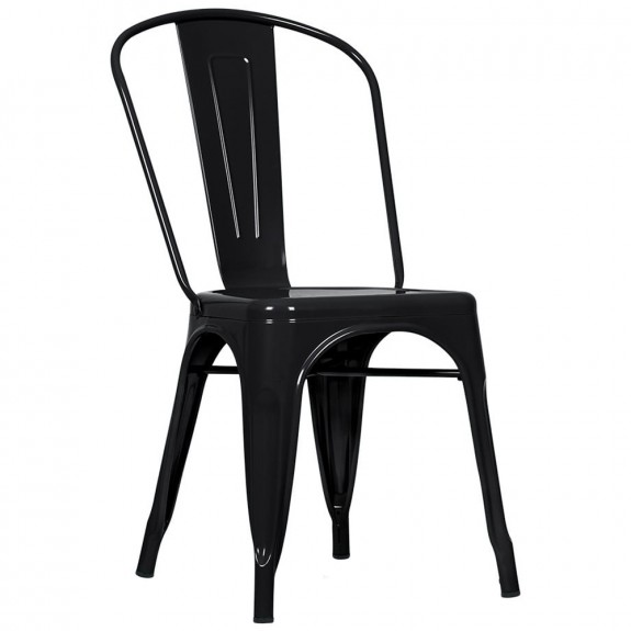 Tolix Steel Bistro Side Chair (Pack of 4) Black