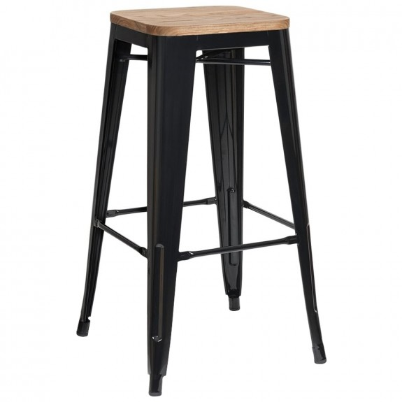 Tolix Bar Stool with Wooden Seat