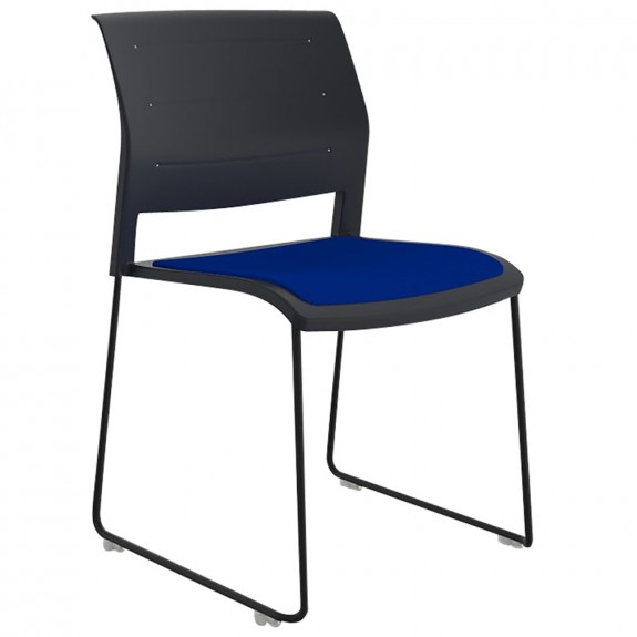 Vibrant Stackable Sled Chair Black Legs Upholstered Seat