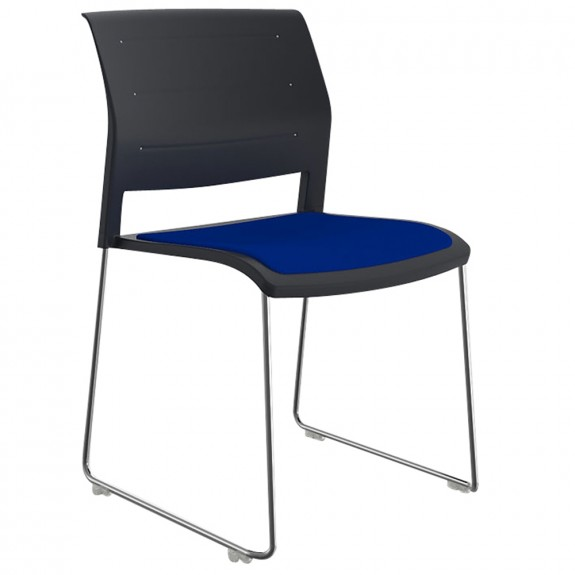 Vibrant Stackable Sled Chair Chrome Legs Upholstered Seat