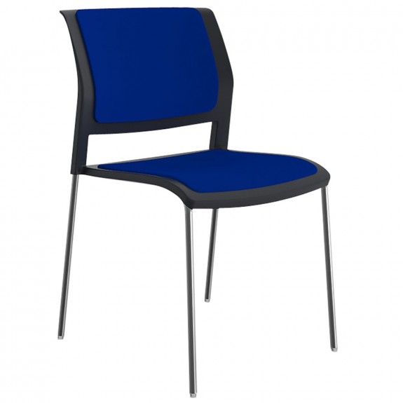 Vibrant Stackable Visitor Chair Chrome Legs Upholstered Seat & Back