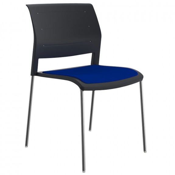 Vibrant Stackable Visitor Chair Chrome Legs Upholstered Seat