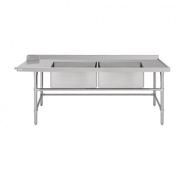 Vogue Dishwasher Inlet Table with Double Bowl Sink R 2400mm