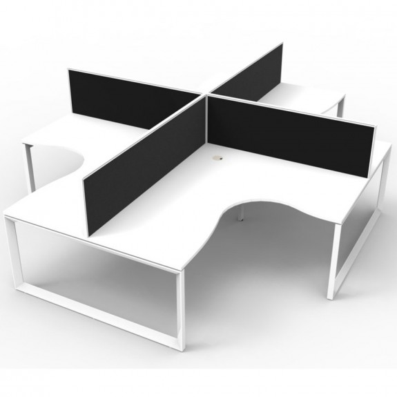 White 4 Person Corner Workstation with Screens White Loop Legs
