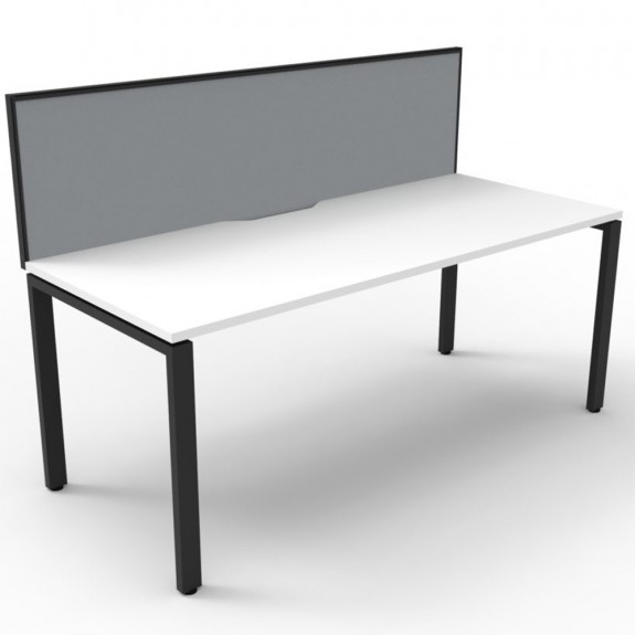 White Office Desk Workstation with Screen Black Legs