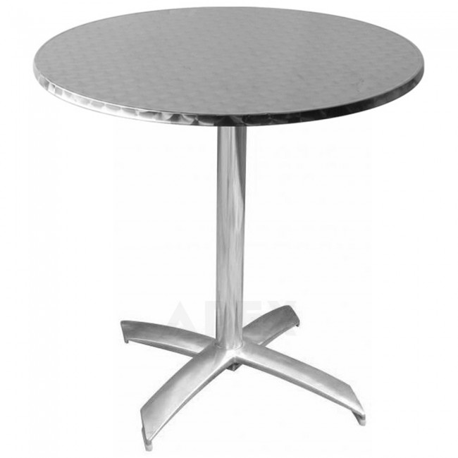 round stainless steel outdoor table top apex. Black Bedroom Furniture Sets. Home Design Ideas