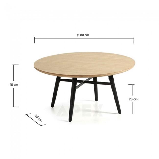 Ava Coffee Table Oak Top Black Legs Tables