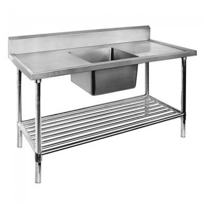 FED Single Centre Sink Bench & Pot Undershelf SSB7-1200C/A