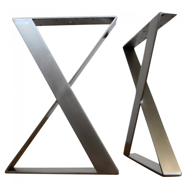 Flat Stainless Steel X Shaped Table Legs Set Of 2 Apex
