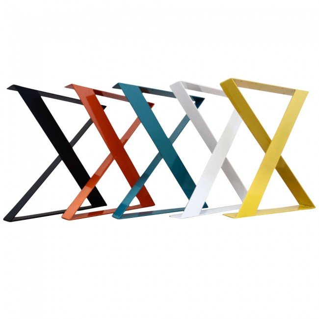 Flat Steel X Shaped Table Legs Set Of 2 Apex