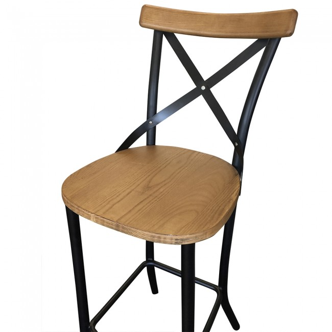 Rustic Cross Back Bar Stool Timber And Metal Only 1