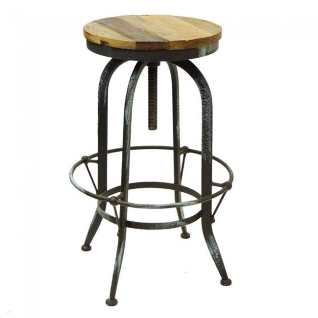 Rustic Provincial Bar Stool Vintage Steel Swivel Apex