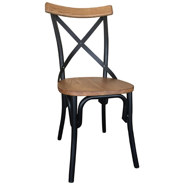 Rustic Cross Back Chair Timber And Metal Limited Stock