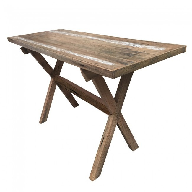 Rustic X Frame Recycled Timber Bar Table Apex