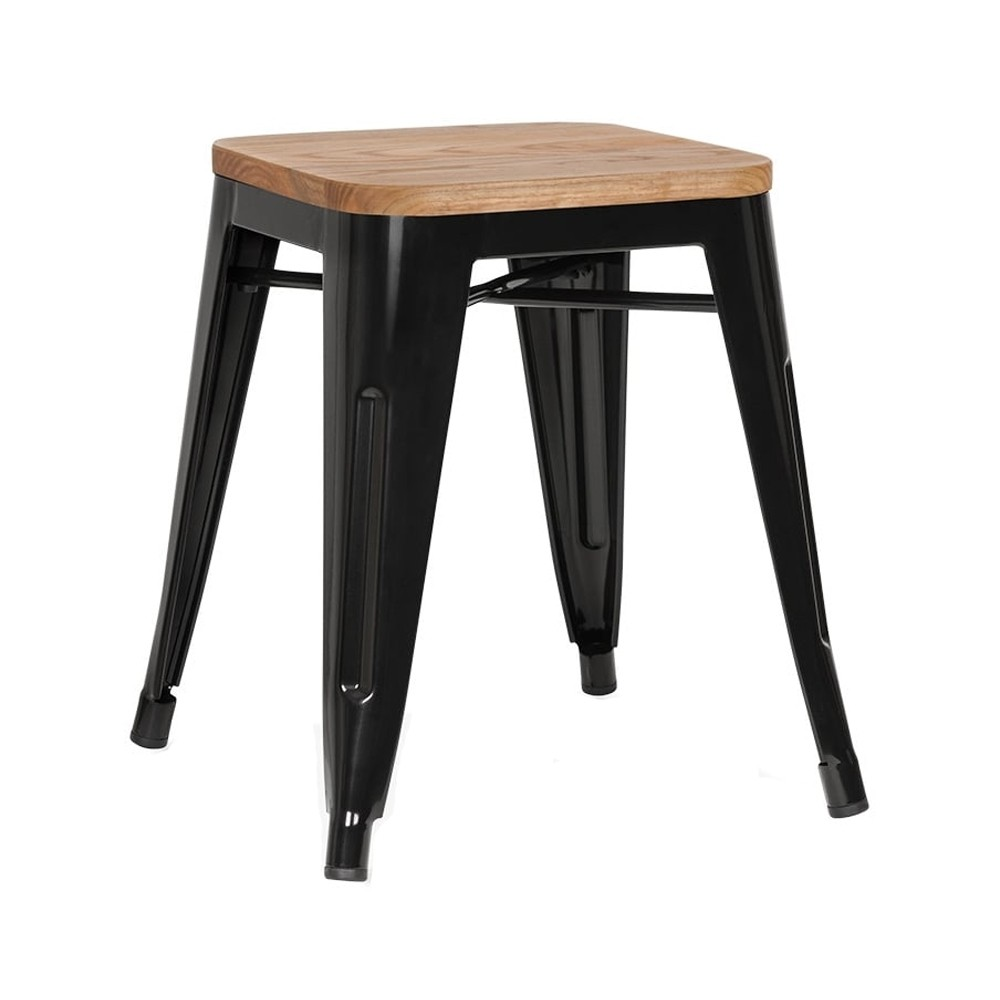 Tolix Low Stool With Wooden Seat Apex