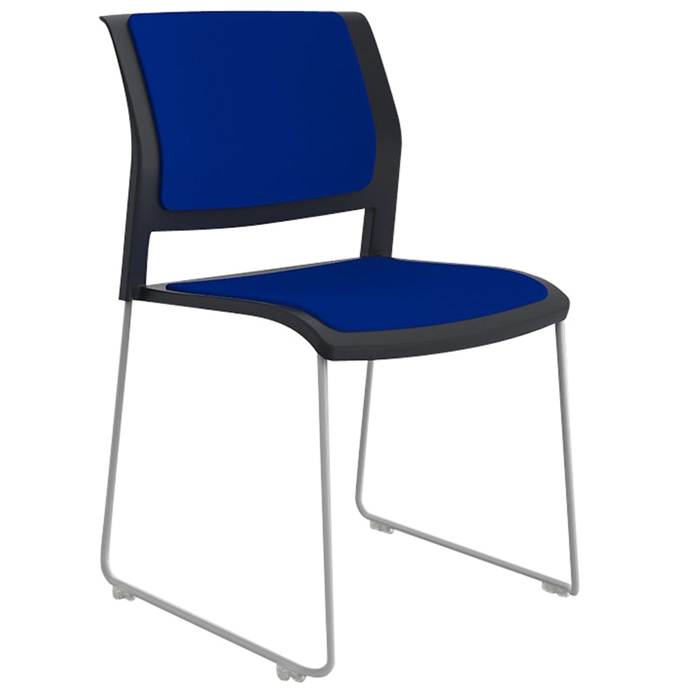 Vibrant Stackable Sled Chair White Legs Upholstered Seat
