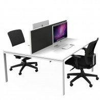 Agility 2 Person Office Workstation Double Sided with Privacy Screen
