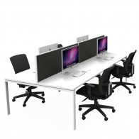 Agility 4 Person Office Workstation Double Sided with Privacy Screens